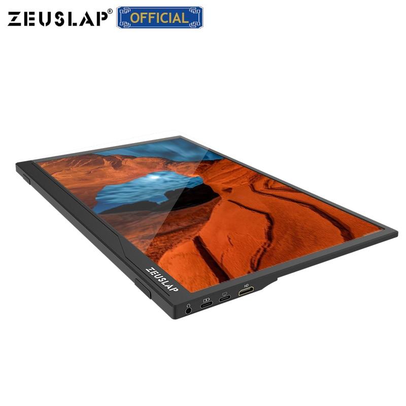 Zeusap ultrafinos 15.6 polegada 1080p/função de toque usb c hdmi-compatível ips tela portátil gaming lcd monitor