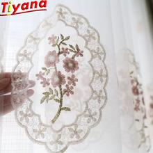 Pink Flower Embroidery Tulle Curtains for Living Room European Ladies Yarn Fresh White Voile Round zss0032#40