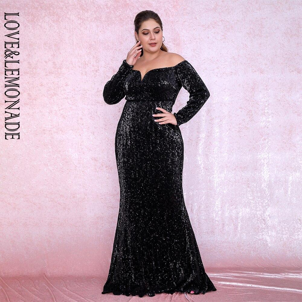 LOVE&LEMONADE Plus Size Sexy Black Deep V-Neck Off-The-Shoulder Bodycon Elastic Sequins Maxi Dress LM80273PLUS Autumn/Winter