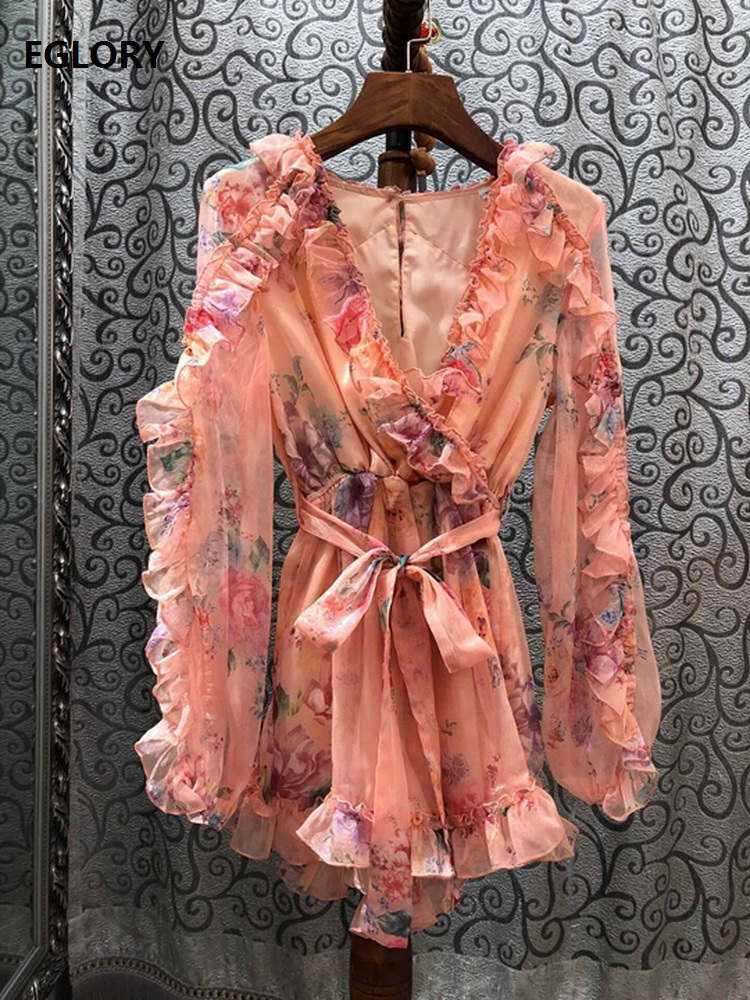 High Quality Jumpsuit Shorts 2020 Spring Summer Casual Bohemian Ladies Sexy V-Neck Colorful Floral Print Long Sleeve Playsuit
