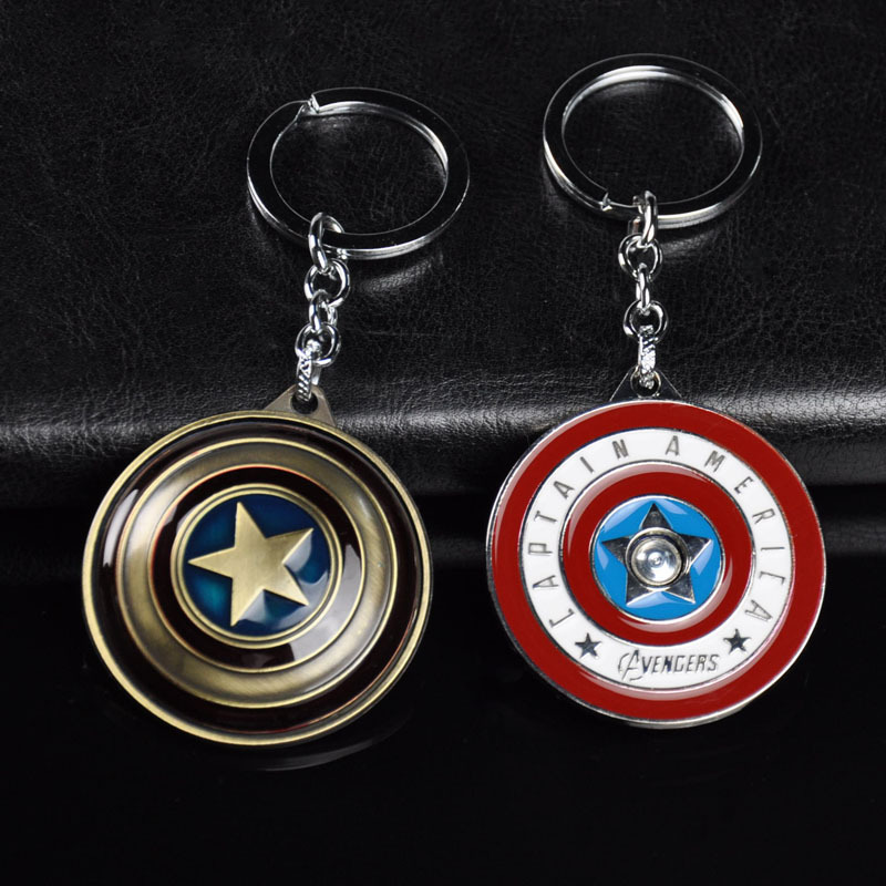 Avengers Car Keychain Jewelry Pendant Captain America Shield Alloy Key Chain Shield Rotary Edition image