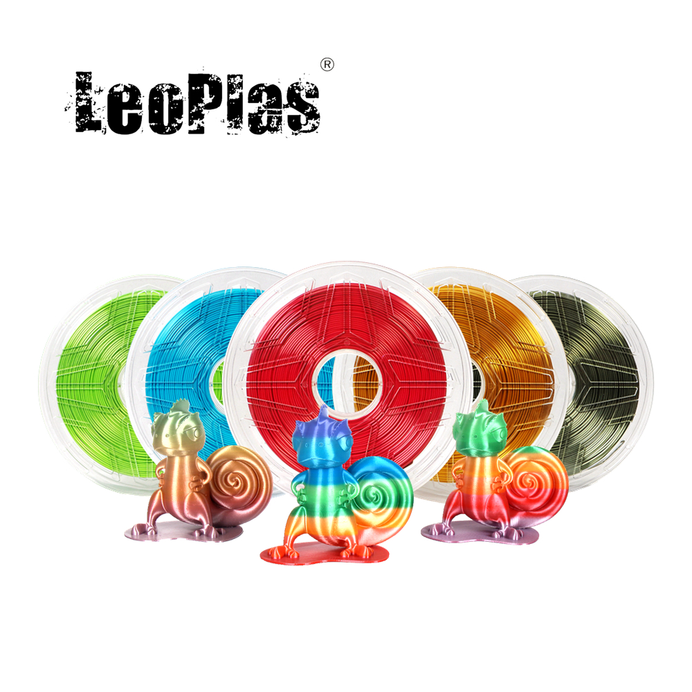 LeoPlas 1kg 1.75mm Shining Metal Silk PLA Filament For FDM 3D Printer Pen Consumables Printing Supplies Plastic Material