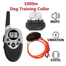 1000 メートル防水犬の訓練の襟充電式アンチ吠えるコントロールサウンド思い出させる振動ショックレシーバー 40% オフ