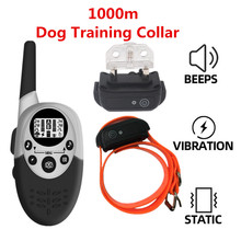 1000 M กันน้ำสุนัขฝึกอบรม COLLAR ชาร์จ Anti Barking เสียงเตือนการสั่นสะเทือน Shock Receiver 40% OFF