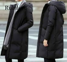 цена на Rubilove Hooded long down coat 2019 new 3XL plus size men's fashion casual thickening down jacket men's white duck down jacket