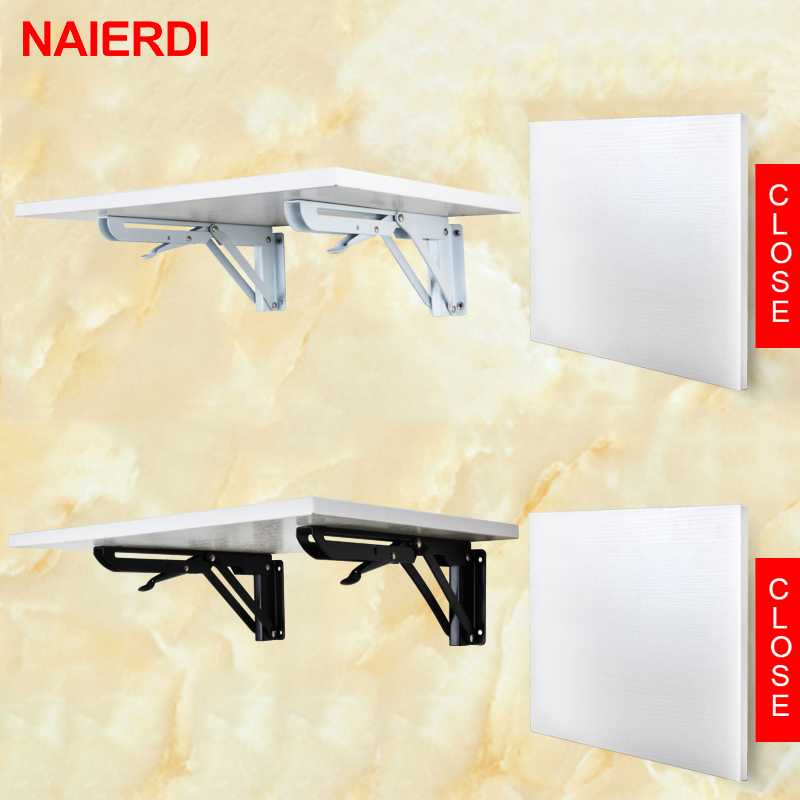 NAIERDI 2PCS Folding Angle Bracket 8-20 Inch Triangle Shelf Heavy Support Adjustable Wall Mounted Bench Table Furniture Hardware