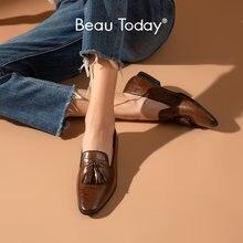 Beautoday loafers feminino couro de bezerro jacaré padrão franja deslizamento na depilação dedo do pé redondo retro casual senhoras sapatos lisos 27278