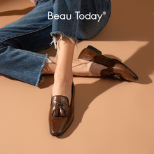 BeauToday Loafers Women Calfskin Leather Alligator Pattern Fringe Slip On Waxing Round Toe Retro Casual Ladies Flat Shoes 27278