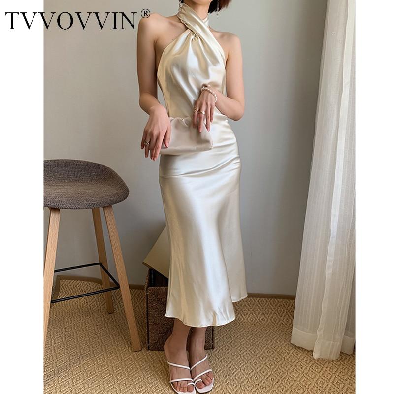 TVVOVVIN Women Dress Sleeveless Off Shoulder Dress Champagne Vintage Halter Sexy Long Summer Women Clothes 2020 New SEXY X458