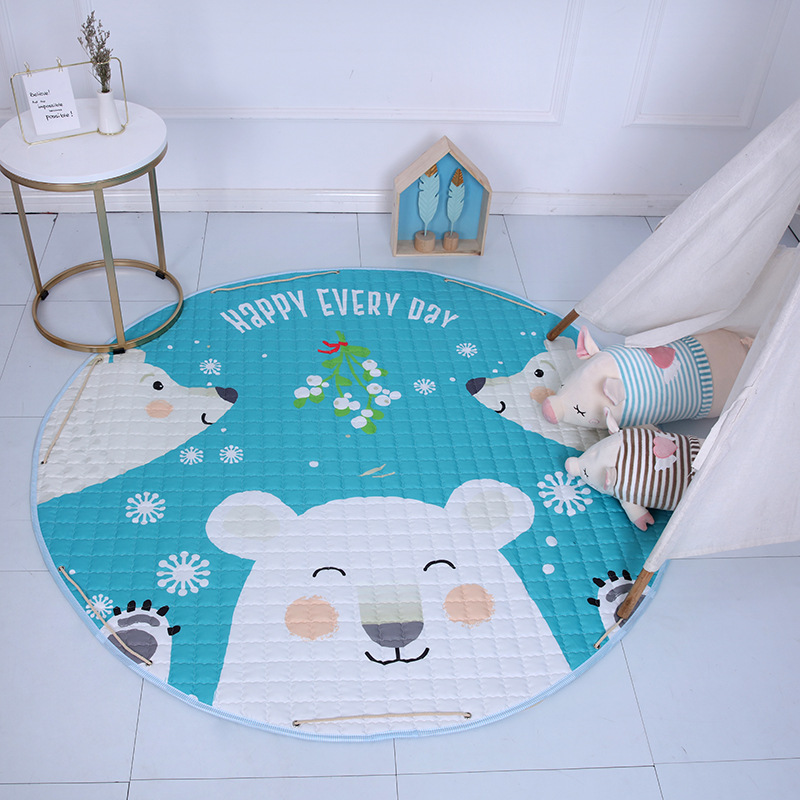 Kid Soft Carpet Rugs Cartoon Animals Fox Baby Play Mats Child Crawling Blanket Carpet Toys Storage Bag Kids Room Decoration | Happy Baby Mama