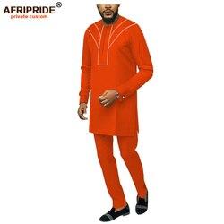 Mannen Casual Afrikaanse Dashiki Ankara 2 Stuk Outfit Hipster Shirt Broek Set Tribal Kleding Kleding Afripride A1916073