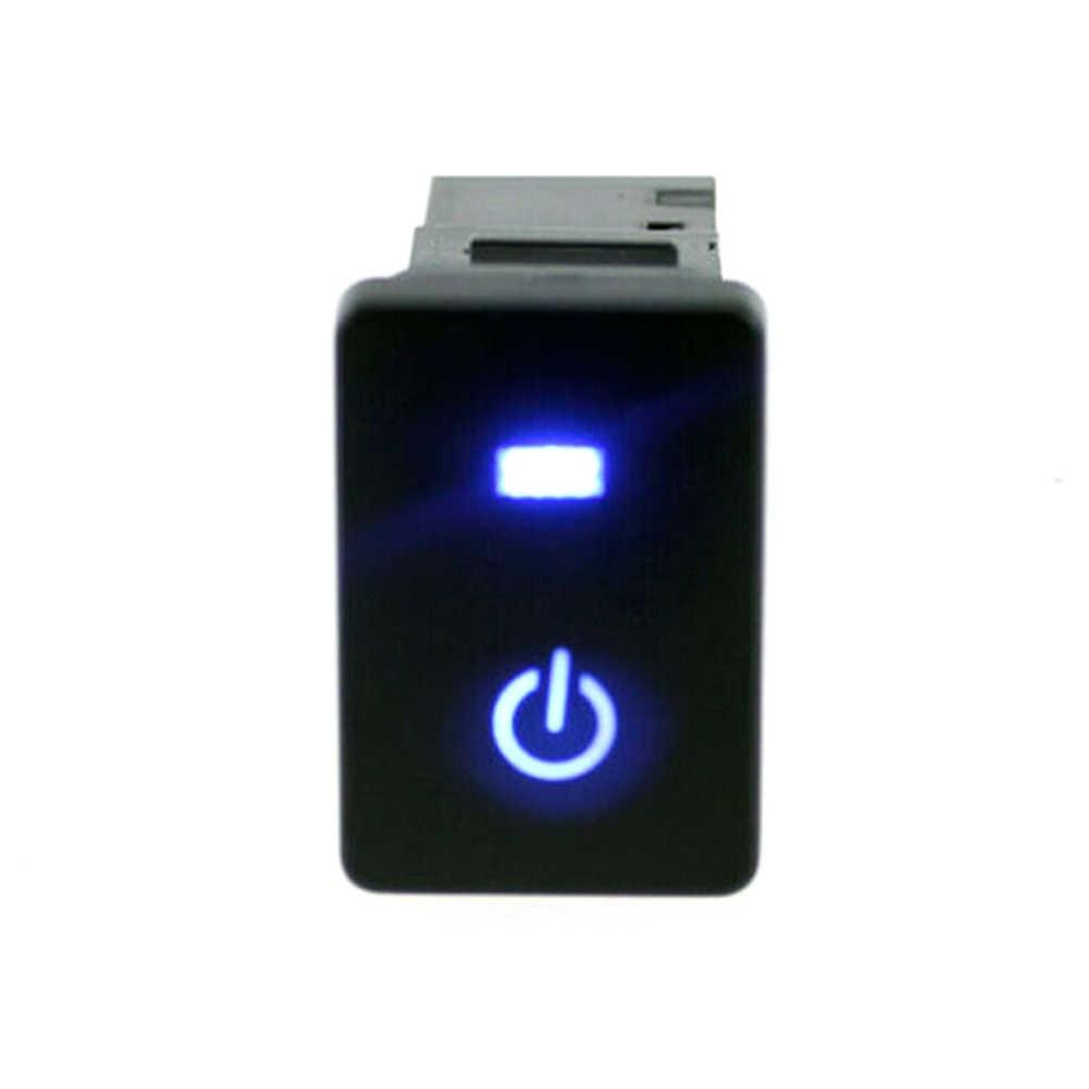 Luces LED azules de encendido interruptor de botón láser Luz LED auto-bloqueo botón de Reinicio encendido-apagado para Toyota Camry Prius Corolla