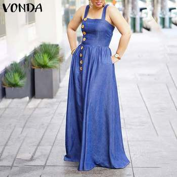 Denim Floor-Length Dress Women Vintage Sexy Sleeveless Square Collar Party Dress VONDA 2020 Bohemian Sundress Plus Size Vestidos vonda summer dress 2020 women sexy ruffled neck sleeveless tank mini dresses plus size bohemian party robe femme vestidos