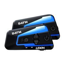 Lexin capacete da motocicleta bluetooth fone de ouvido interfone 4 pilotos 1600m sem fio bt intercomunicador moto b4fm intercomunicadores de casco