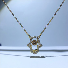 High Quality SWA Female Charm Classic Golden Palm Jump  Heart Necklace