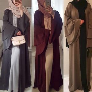 2020  Chiffon Muslim Dress Womens Open Abaya Long Trumpet Sleev Hijab dress Elegant New Fashion Robes for Dubai Women