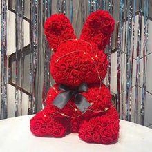 45 см розы Кролик Цветы Святого Валентина Романтика искусственные розы Медведь Вечерние Свадебные Рождественские украшения, подарки для женщин венок