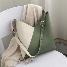 Splicing Contrast PU Leather Bucket Bags For Women 2020 Summer Crossbody Bags Lady Shoulder Simple Bag Female Travel Handbags