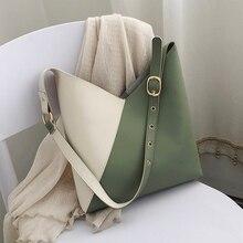 Splicing Contrast Pu Lederen Emmer Tassen Voor Vrouwen 2020 Zomer Crossbody Bags Lady Schouder Eenvoudige Tas Vrouwelijke Reizen Handtassen