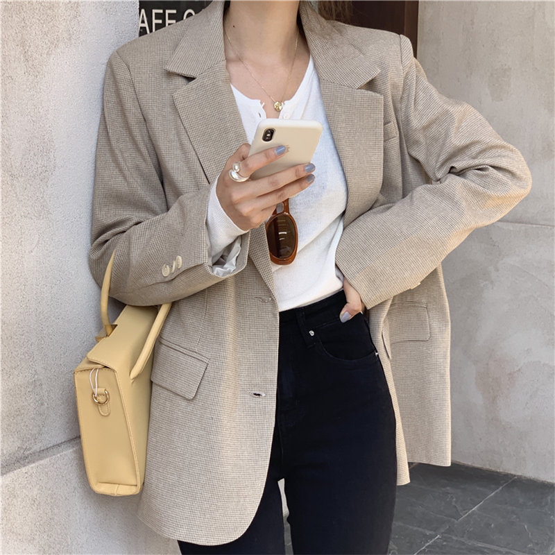 HziriP Korean Simple Casual Office Lady Plaid Cute All-Match Women Slender Chic Autumn Feminine Brief Loose Fashion Blazers