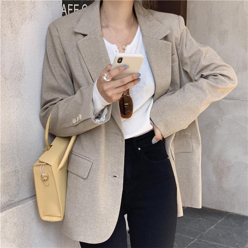 HziriP Korean Simple Casual Office Lady Plaid Cute All-Match Women Slender Chic Autumn Feminine Brief Loose Fashion Blazers