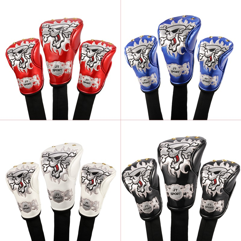 New 4Colors Skull Head Golf Cover Headcover For Driver 3#Fairway Wood 5#Fairway Wood Golden Spots Universal Brand Free Shipping