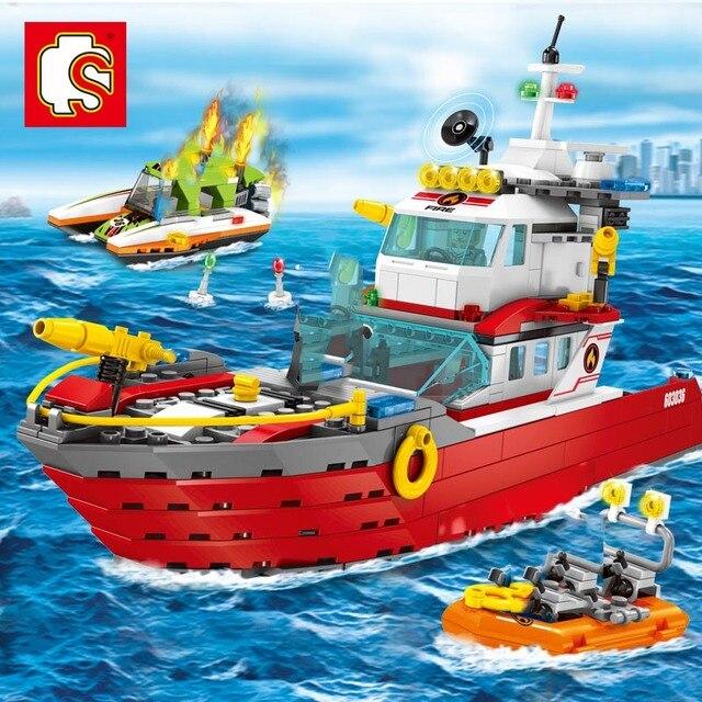 Sembo blocs ville pompier feu flotte militaire enfants jouet blocs de construction enfants assembler Kits enfants bricolage garçons jouets cadeaux