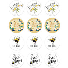 24/48 pçs abelha tipo abelha feliz adesivos para festa de aniversário do casamento chá de fraldas decoração bonito animal abelha adesivos crianças brinquedo presente
