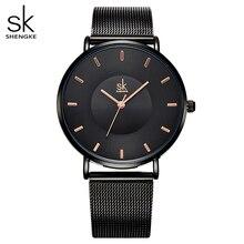 Shengke Simple Women Watches 2020 Ladies Wristwatch Ultra thin Quartz Watch Woman Sliver Ladies Watch Relogio Feminino SK