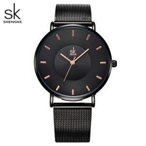 Image 1 - Shengke Simple Women Watches 2020 Ladies Wristwatch Ultra thin Quartz Watch Woman Sliver Ladies Watch Relogio Feminino SK