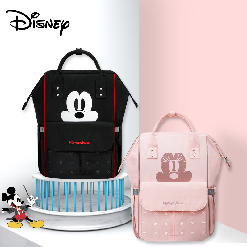 Disney Mickey Minnie Diaper Bag Mummy Maternity Nappy Bag Large Capacity Baby Diaper Bags Zipper Mother Stroller Bag Organizer