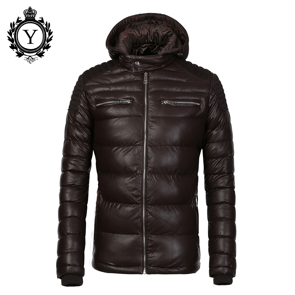 COUTUDI Winter Leather jacket PU leather Coat men cotton padded Mens Warm winter Jacket Coats Hooded Parka for man