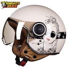 오토바이 헬멧 헬기 3/4 오픈 얼굴 빈티지 모토 헬멧 모토 Casque Casco Capacete 남자 여자 스쿠터 오토바이 헬멧