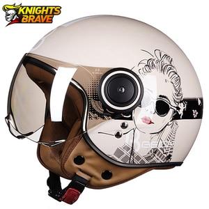 Image 1 - Motorrad Helm Chopper 3/4 Open Gesicht Vintage Moto Helm Moto Casque Casco Capacete Männer Frauen Roller Motorrad Helm