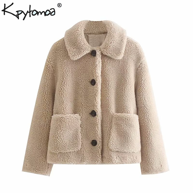 Vintage Stylish Winter Warm Faux Fur Teddy Coat Women 2020 Fashion Long Sleeve Pockets Cozy Outerwear Chic Tops Chaqueta Mujer