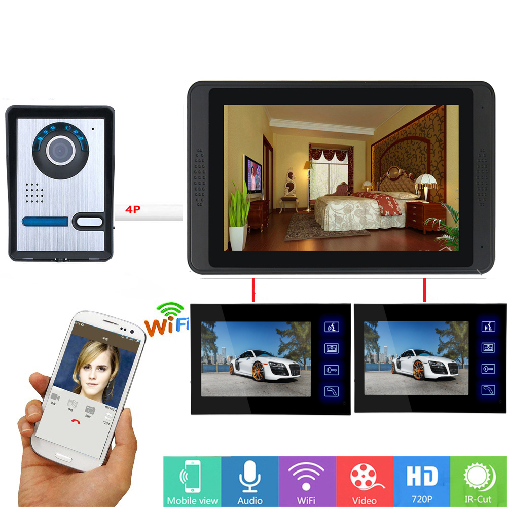 7 Inch Touch Screen Wifi Wireless Smart IP Video Door Phone Doorbell Visual Video Intercom System APP Remote Unlock SD Record