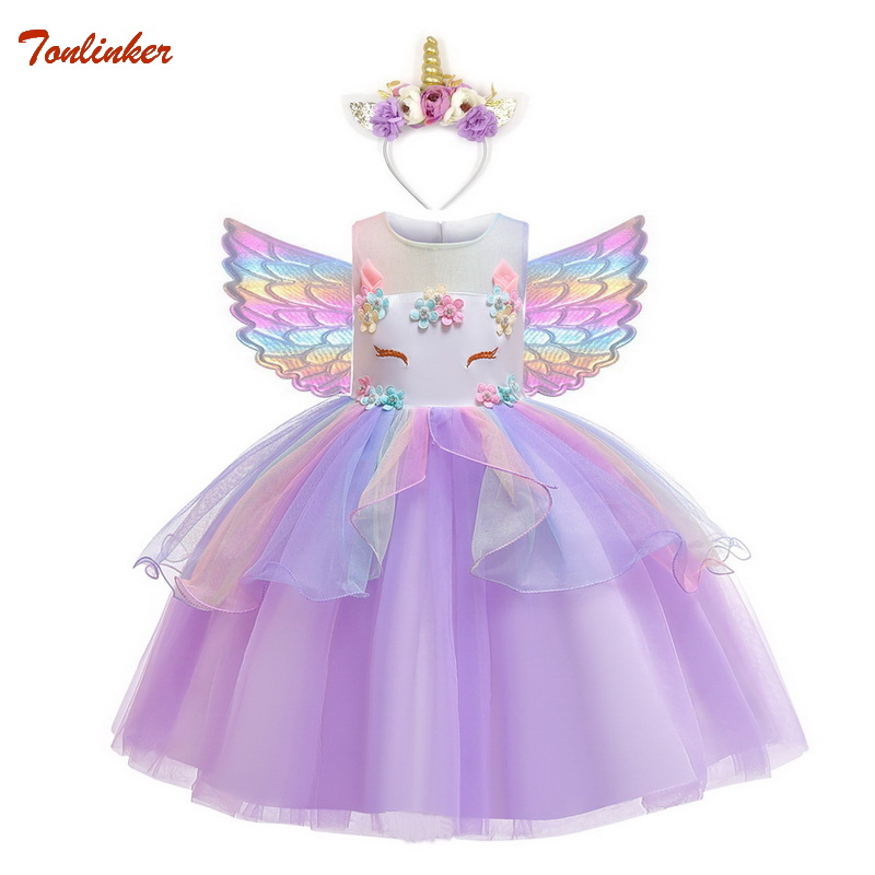 Flowers Unicorn Costume Pony Unicorn Tutu Party Dress Hair Band Wings Sets For Girls Flower Pageant Princess Costume 2-10 Years