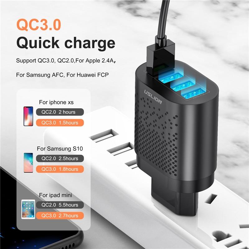 Uslion Eu/Us Plug Usb Charger 3A Quik Lading 3.0 Mobiele Telefoon Oplader Voor Iphone 11 Samsung Xiaomi 4 poort 48W Snel Muur Laders 3