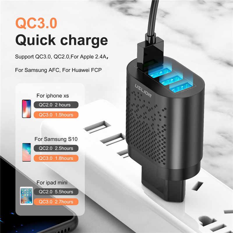 USLION EU/Mỹ Cắm Sạc USB 3A Quik Sạc 3.0 Sạc Cho iPhone 11 Samsung Xiaomi 4 cổng 48W Nhanh Tường Đầu Sạc