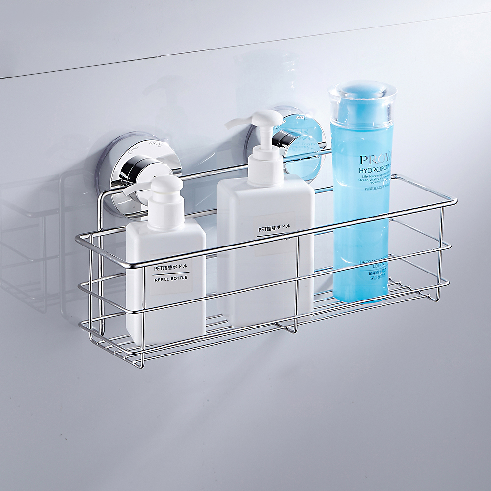 Bathroom Shelf Stainless Steel Shower Shelf Dual Sucker Bathroom Shelf Wall Mount Shelf Shampoo Holder Basket  Kitchen Organizer