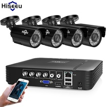 Hiseeu نظام كاميرات أمنية المنزل طقم مراقبة الفيديو CCTV 4CH 720P 4 قطعة في الهواء الطلق AHD نظام الكاميرا الأمنية