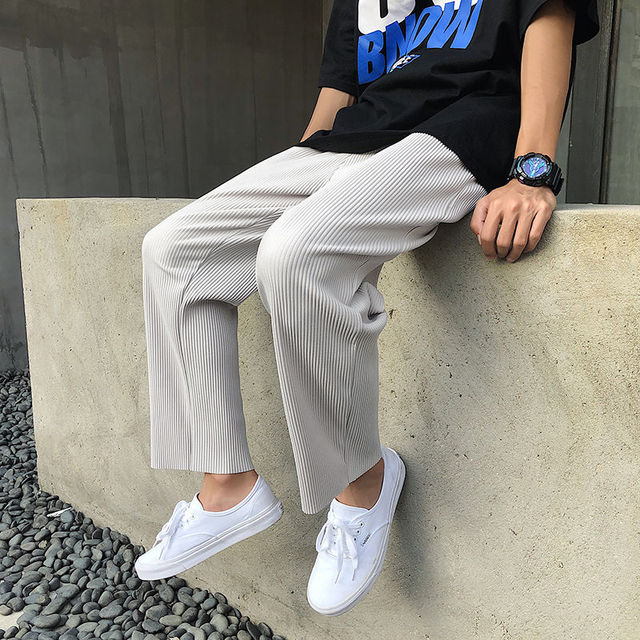 Pleated Straight Pants Men's Fashion Solid Color Elastic Waist Casual Pants Men Streetwear Loose Japanese Ice Silk Trousers Mens 2