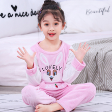 Winter Children Fleece Pajamas Thicken Warm Flannel Sleepwear Girls Loungewear Coral Kids Pyjamas Boy Long Pant Home Wear
