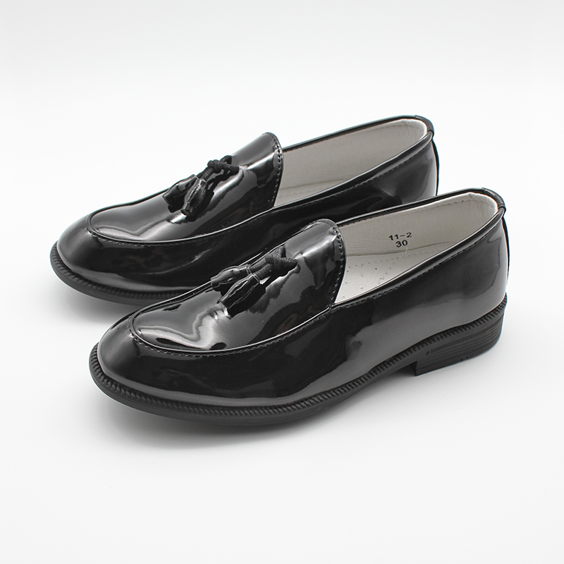Kids Boys Slip On Formal Patent Faux Leather Loafers Boys Dress Shoes Tassel Wedding Shoes
