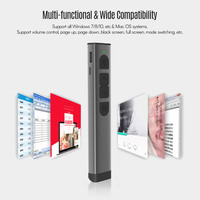 2.4GHz Wireless Remote Control Rechargeable Digital Remote Powerpoint Presenter PPT Clicker Flip Pen Green Pointer USB Receiver