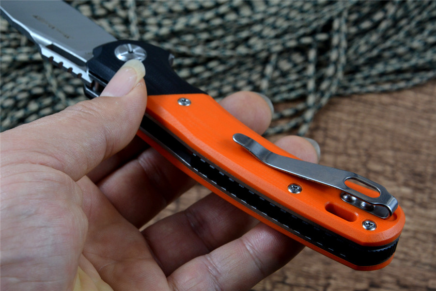 home improvement : TWOSUN Flipper Fast Open 14C28N Blade Satin CNC Orange G10 Handle Pocket Folding Gift Survival Hunting Knives TS127 Outdoor Gear