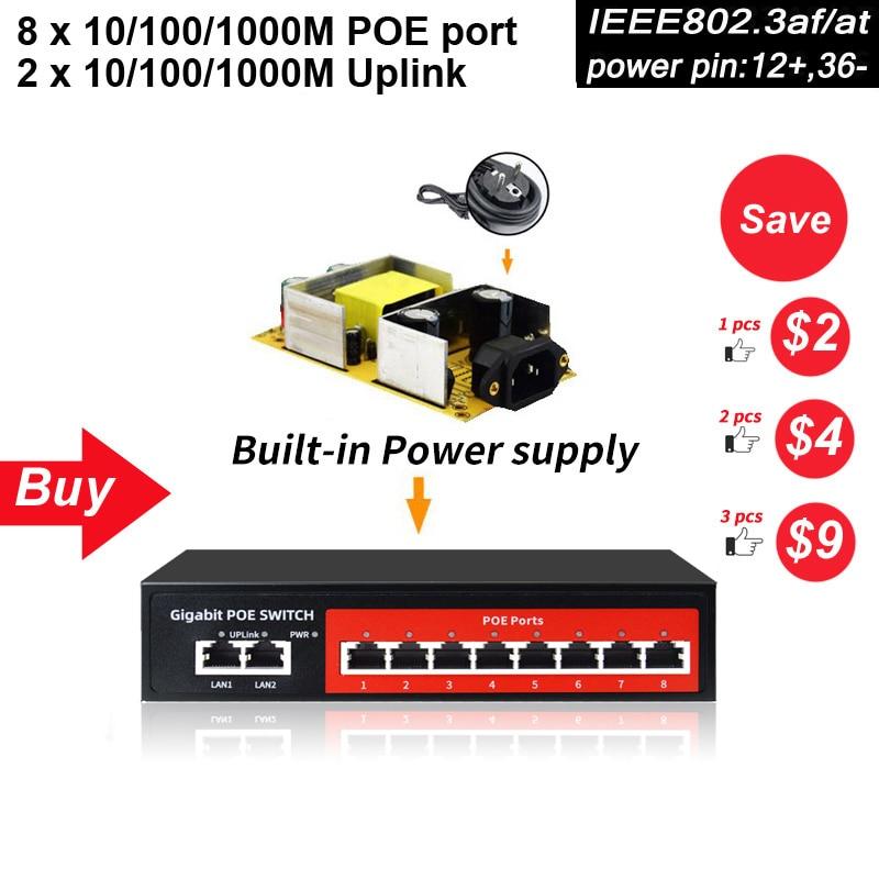 SZSSCEE 10 port Gigabit Switch Poe apoio Ieee802.3af/em câmeras Ip e Wireless AP 10/100/1000 mbps switch de rede padrão
