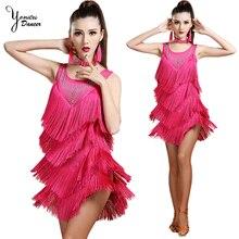 4 Color Available Latin Dance Dress for Women Sleeveless Black Tassel Skirt Performance Costume Latin Dance Red Dress Sexy Short