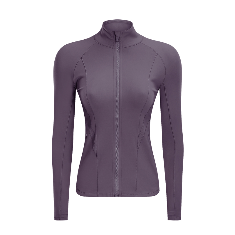 Raibaallu double-sided worsted yoga jacket stretch zipper fitness thread sports jacket for women autumn and winter