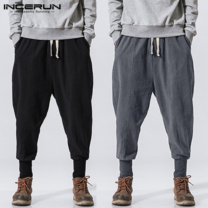 INCERUN Men Harem Pants Drawstring Retro Joggers Solid 2020 Cotton Streetwear Casual Trousers Men Loose Sweatpants Plus Size 7